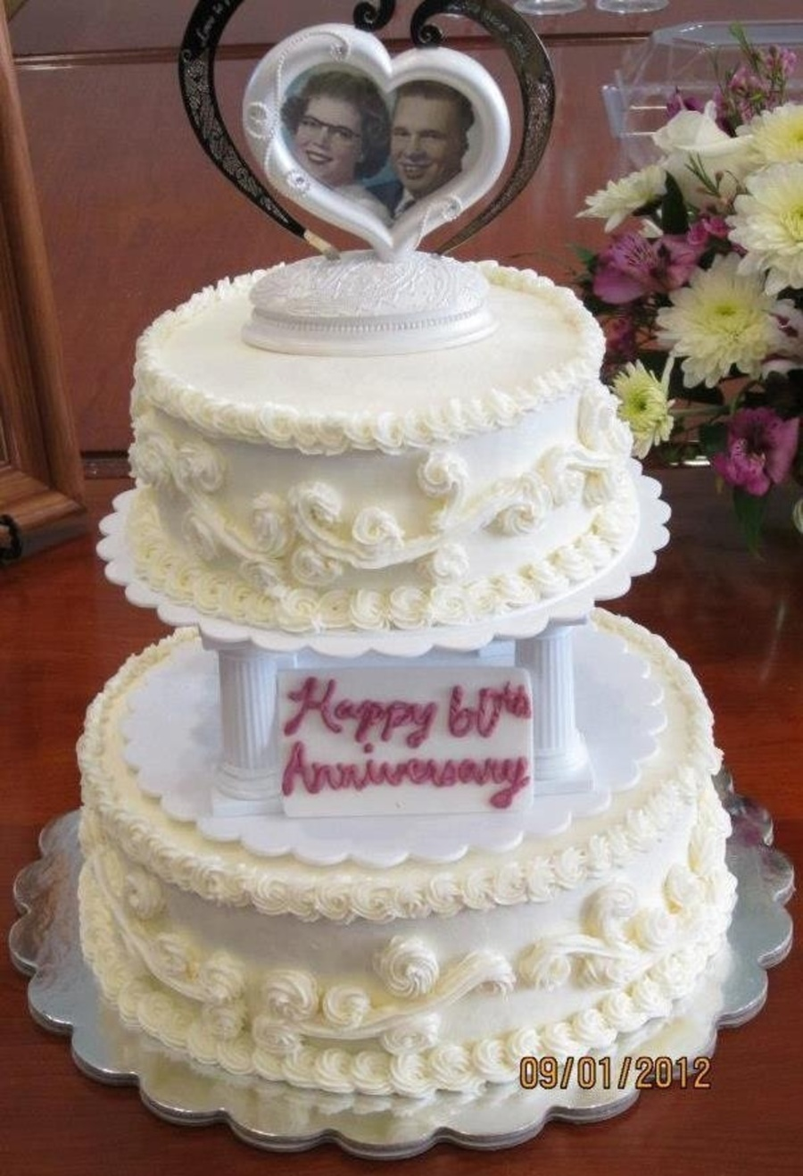 Old Fashioned Buttercream Wedding Cake For A 60Th Anniversary ...
