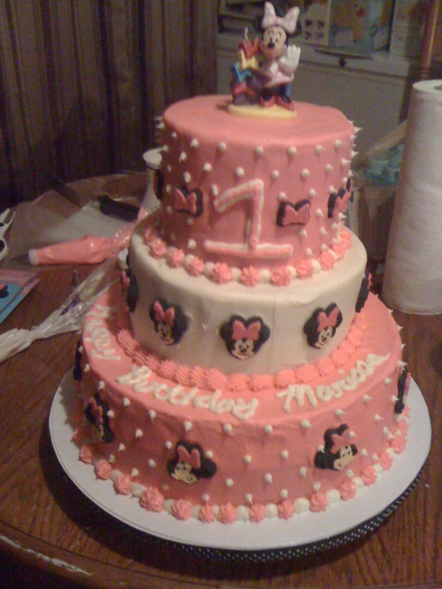 Minnie Mouse 1St Birthday Cake 3 Tier CakeCentralcom
