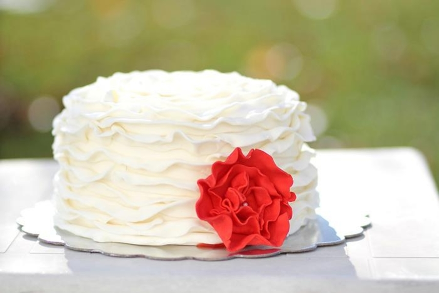 Ruffle Cake With Red Ruffle Flower on Cake Central
