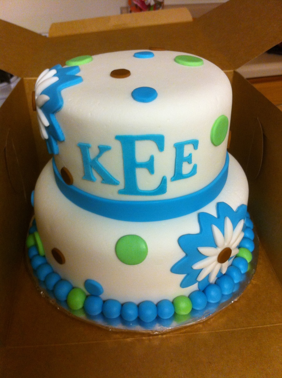 Blue Green Brown Initials on Cake Central