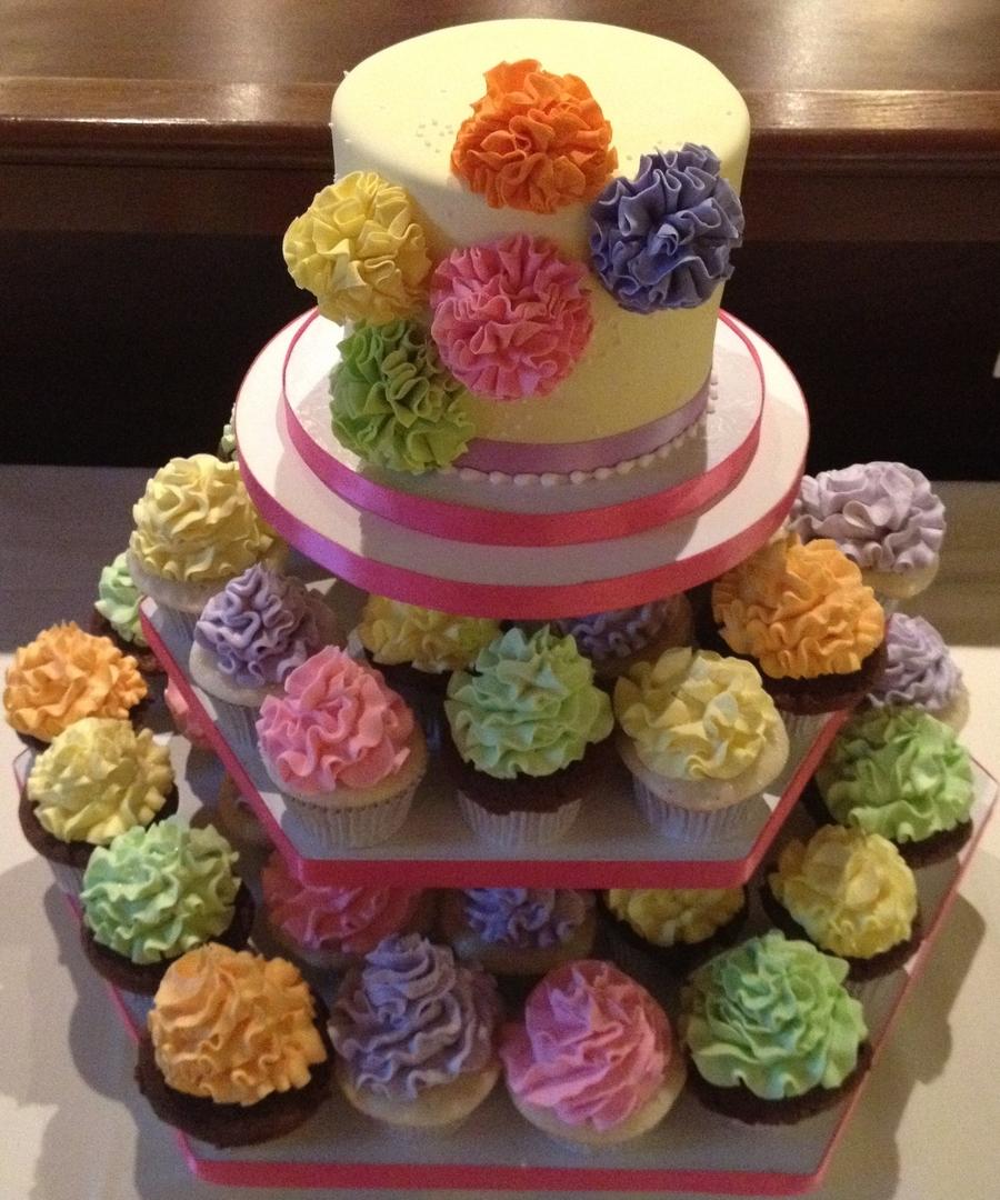 pom pom bridal shower cupcake tower on cake central