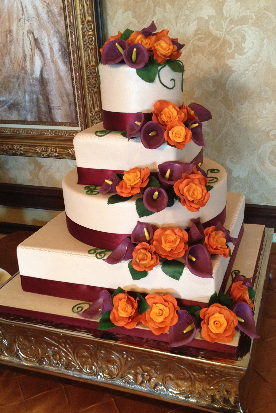 Plum & Burnt Orange Four Tier Fall Wedding  on Cake Central