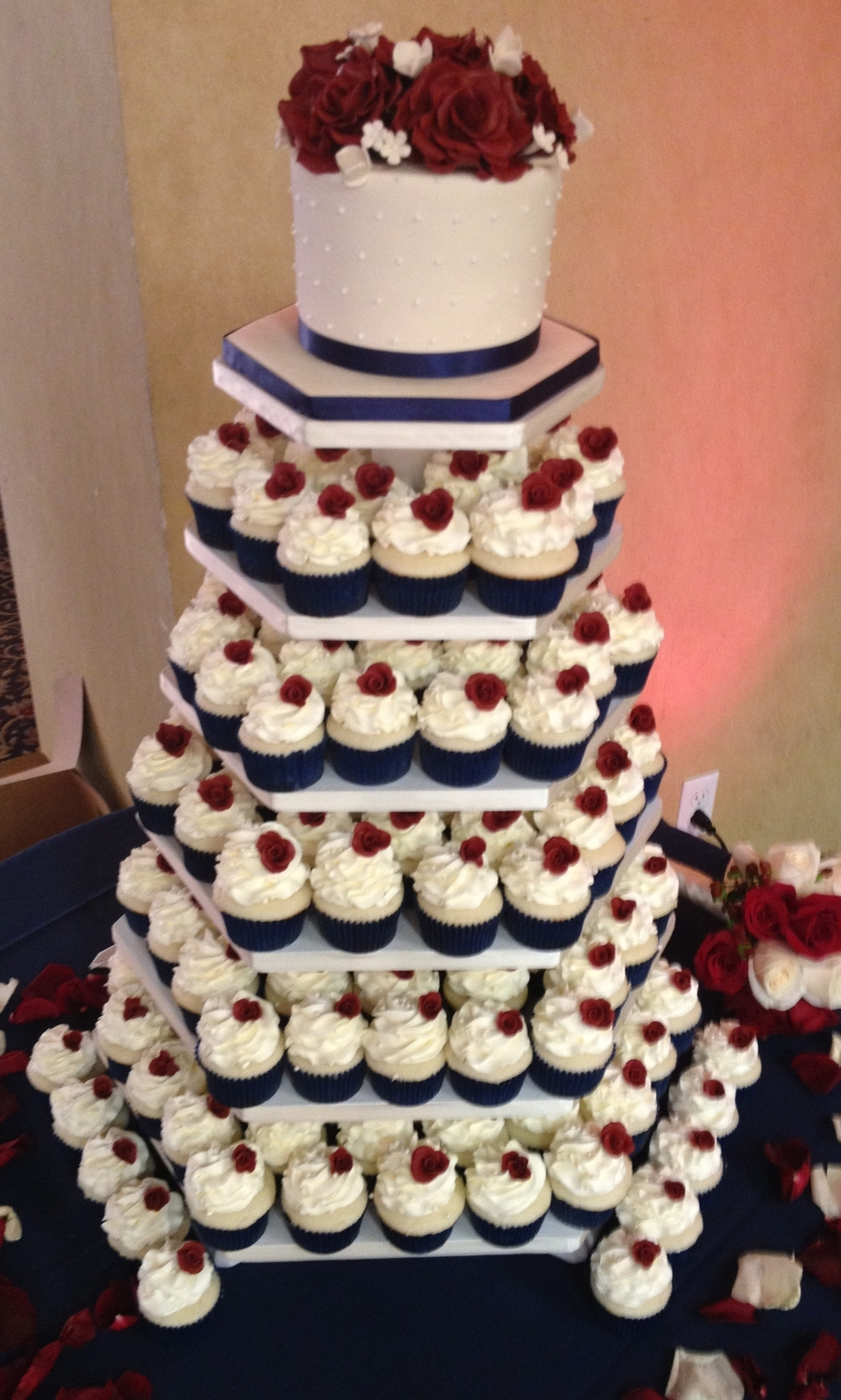 Navy Coral Wedding Cake