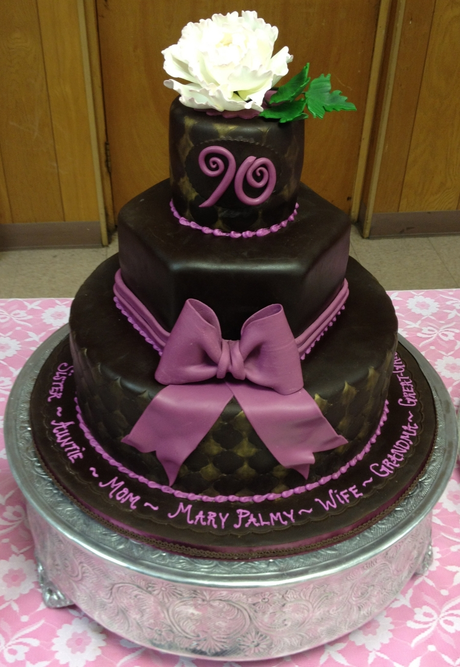 Chocolategoldpurple 90th birthday cake with peony flower chocolategoldpurple 90th birthday cake with peony flower on cake central izmirmasajfo