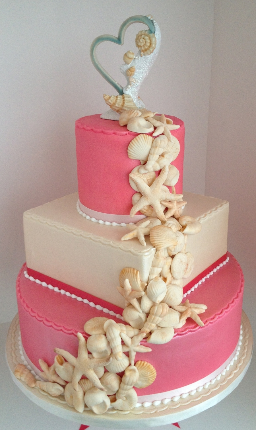 Watermelon & Ivory Seashell Wedding Cake on Cake Central