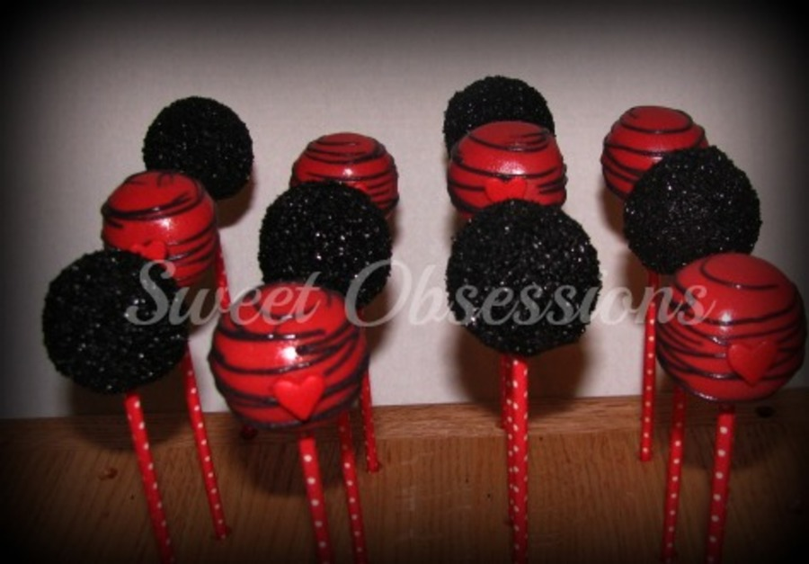 Black & Red Cake Pops on Cake Central