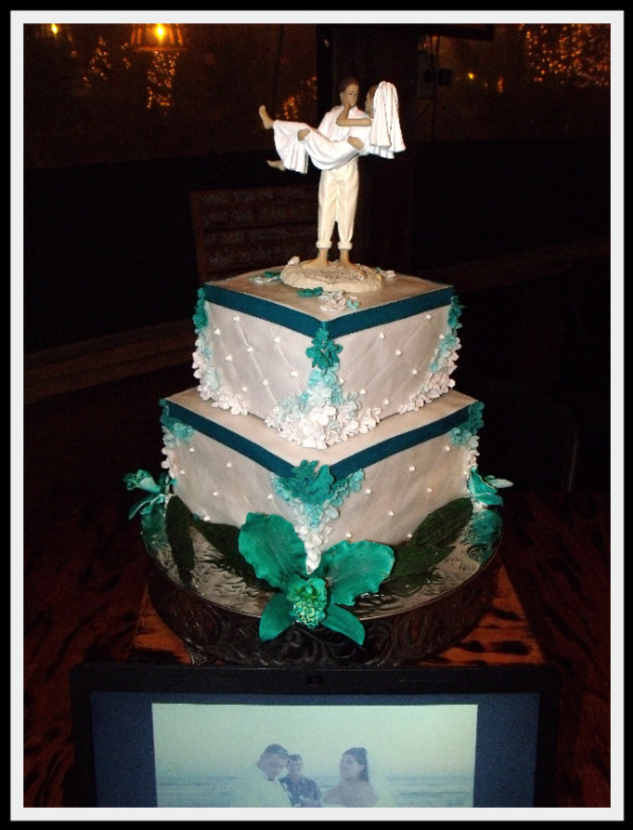 Teal Orchid Wedding Cake With Teal Ombre Interior on Cake Central