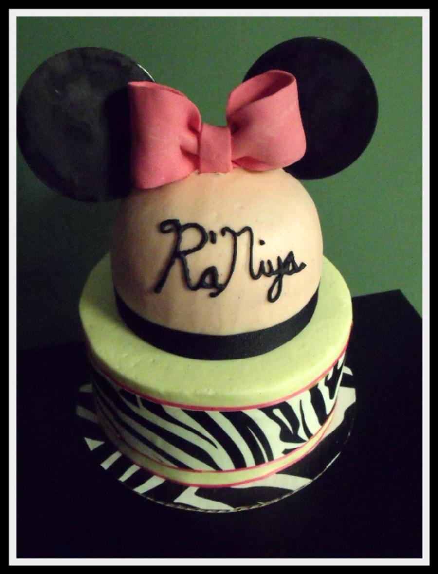 Mouse Ears Are Black Candy Melts The Bow Is Gumpaste Got To Use The New Sugar Sheets By Wilton And The Rest Is All Buttercream  on Cake Central