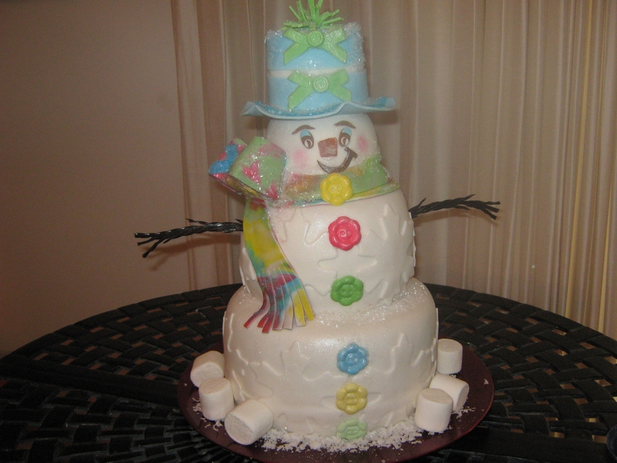Snowman Of Many Colors on Cake Central