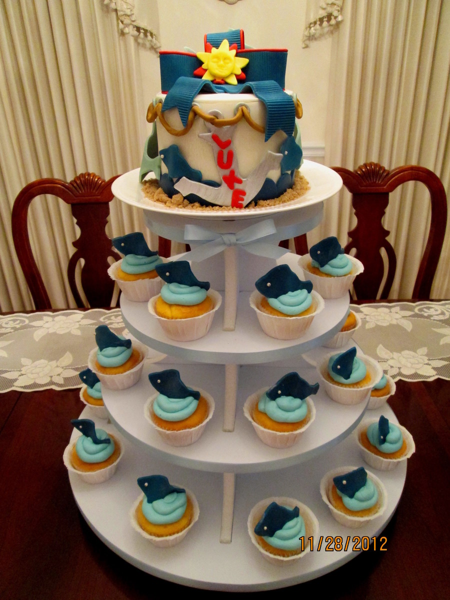 Baby Shower Cakecupcakes For A Nautical Theme on Cake Central