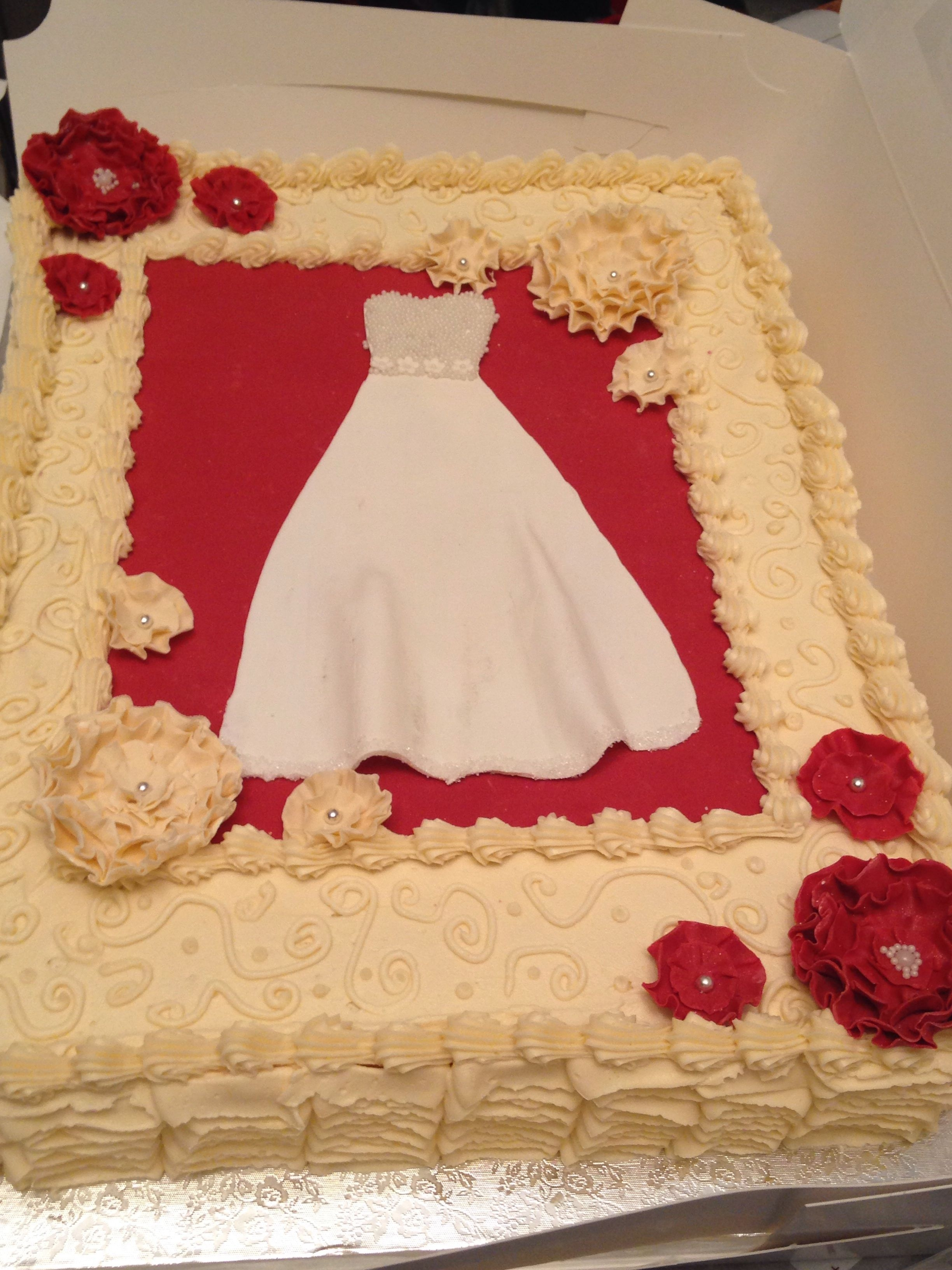 Bridal Shower Cake Red Velvet Cake And Cream Cheese Icing 12 Sheet Cake