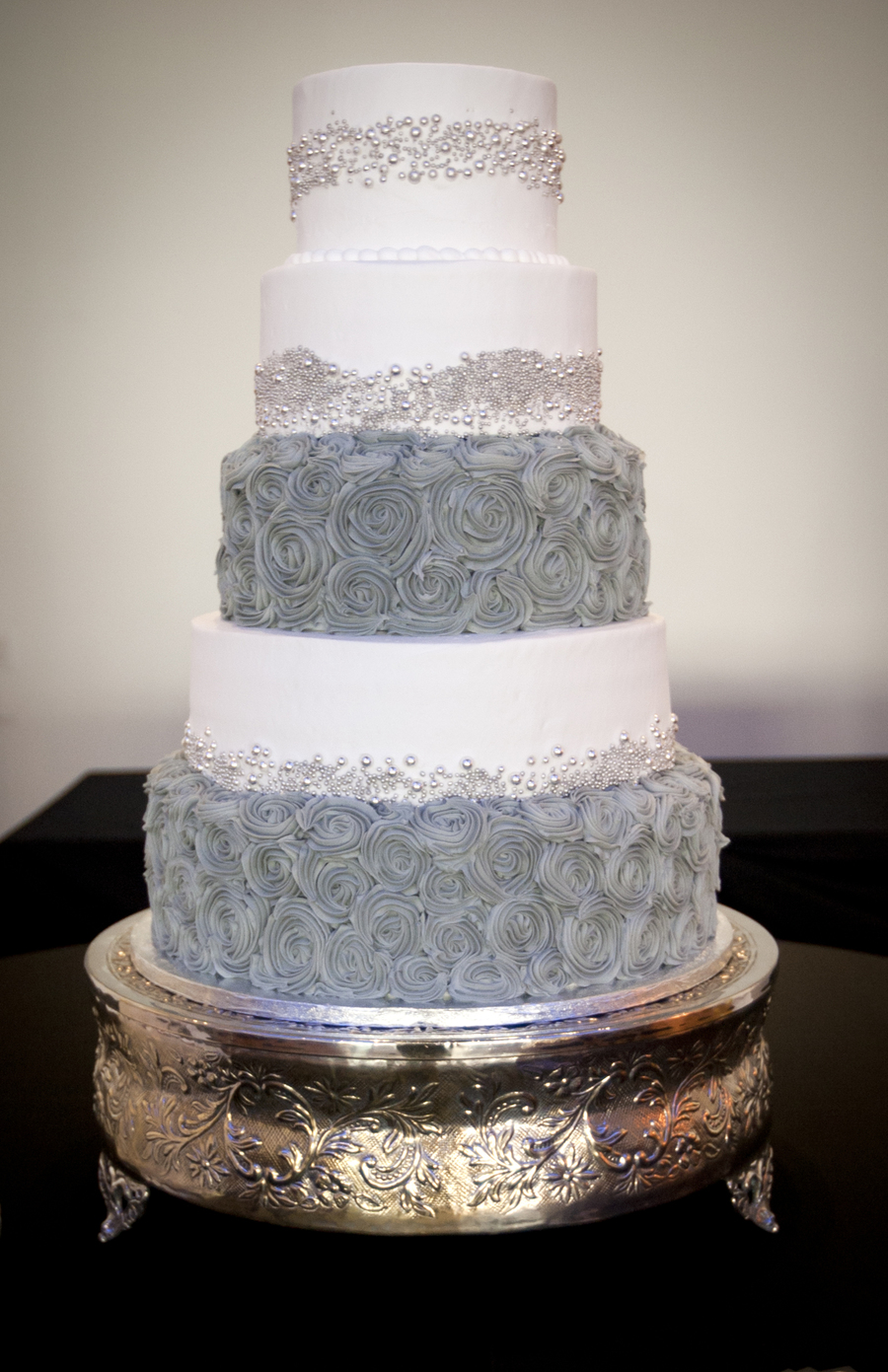 3 Tier Wedding Cake Covered In Fondant With Gumpaste Lace And