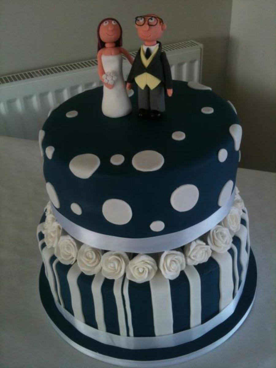 Navy White Round Wedding Cake 2 Tiers Of Chocolate And Madeira With A Handmade Gumpaste Topper My First Proper