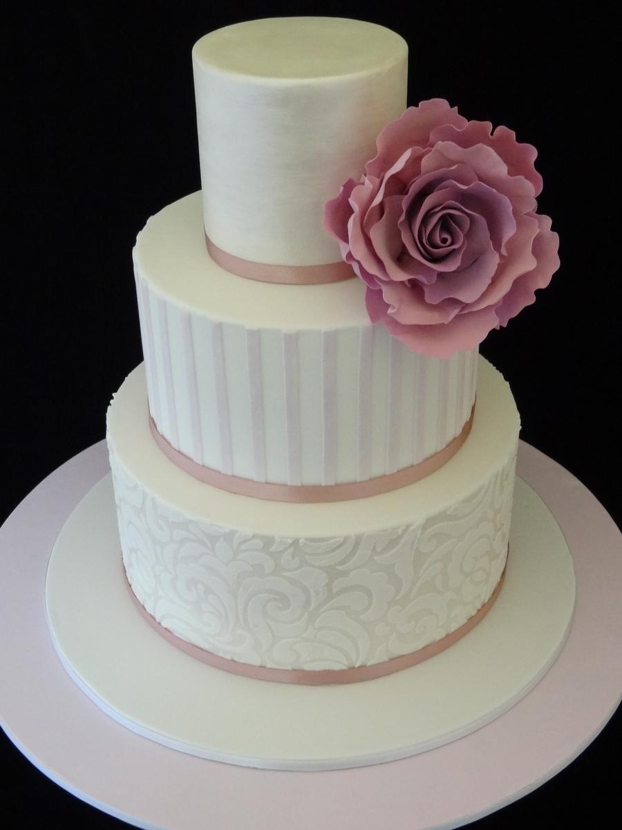Mauve Stripes And Stencil Wedding Cake