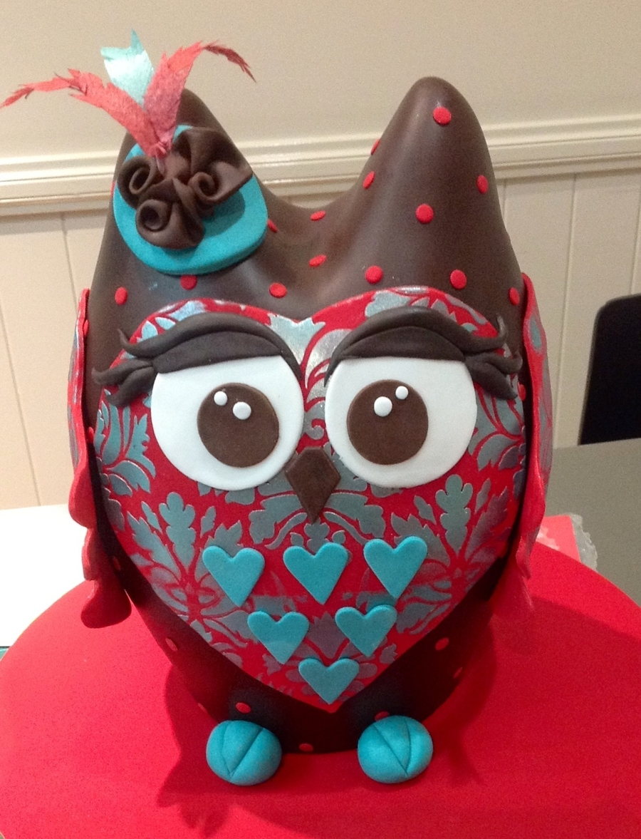 Stencilled Owl  on Cake Central