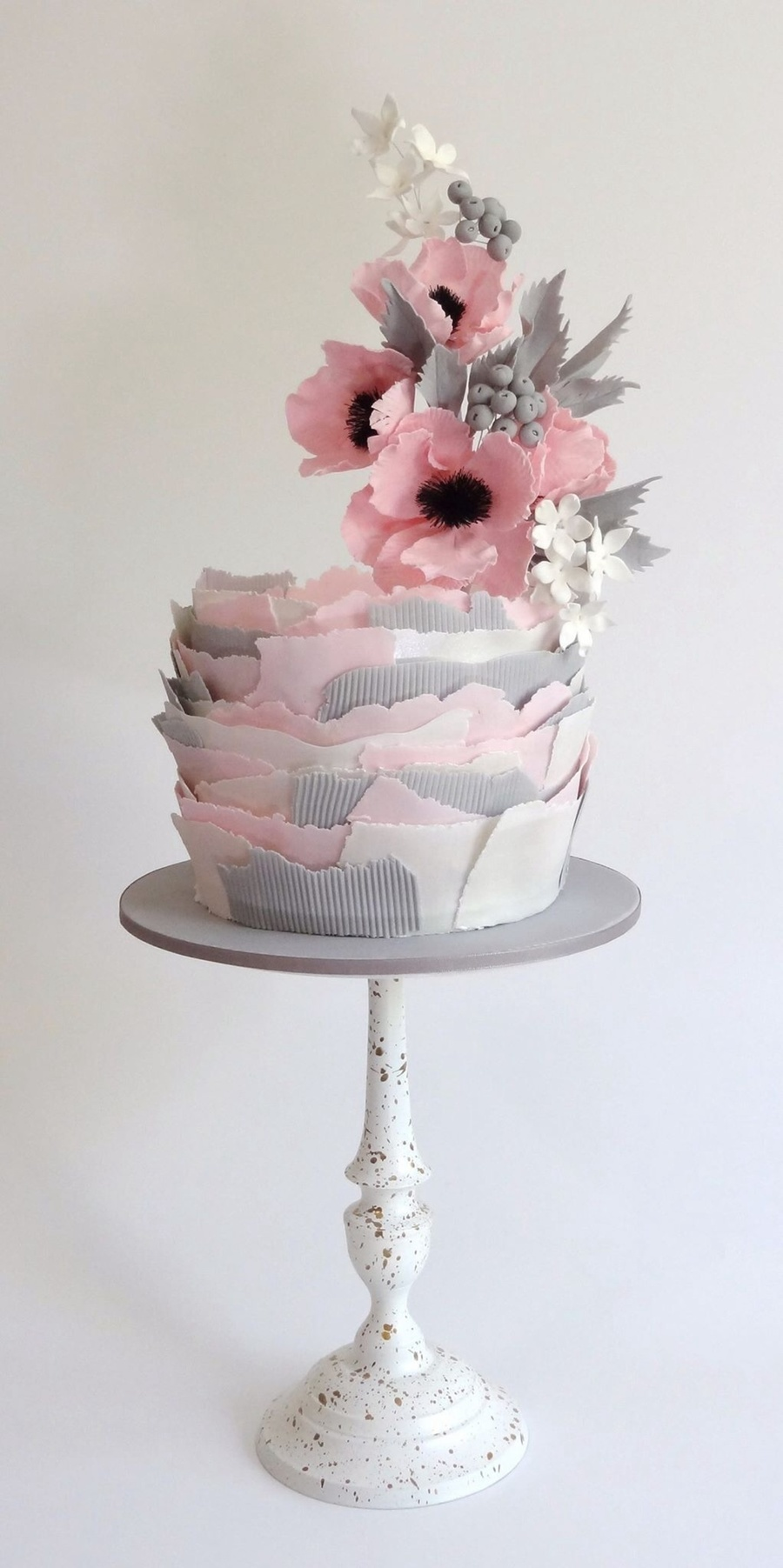 Torn Paper And Elevated Flowers. on Cake Central