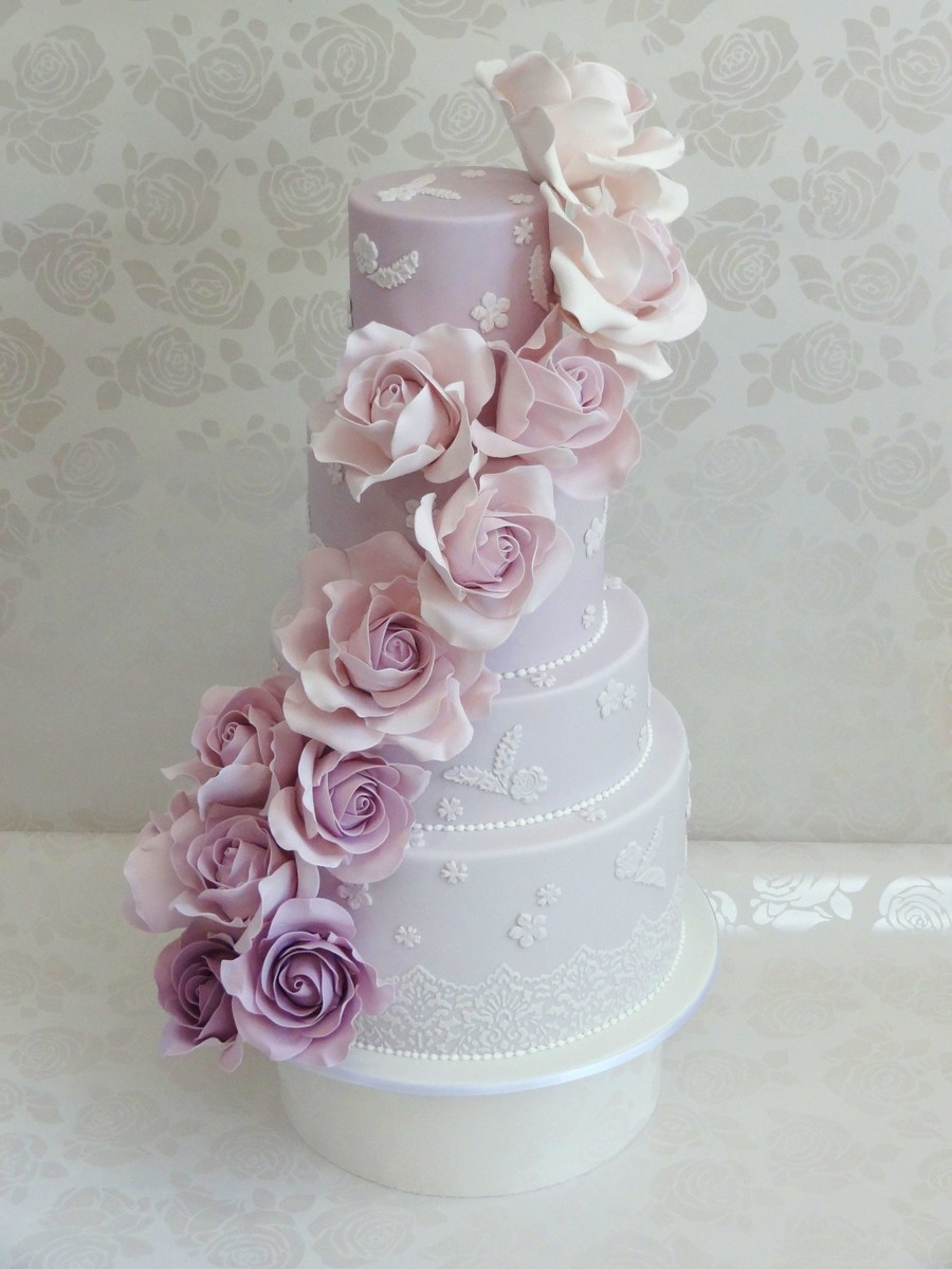 Ombre Rose Cascade on Cake Central