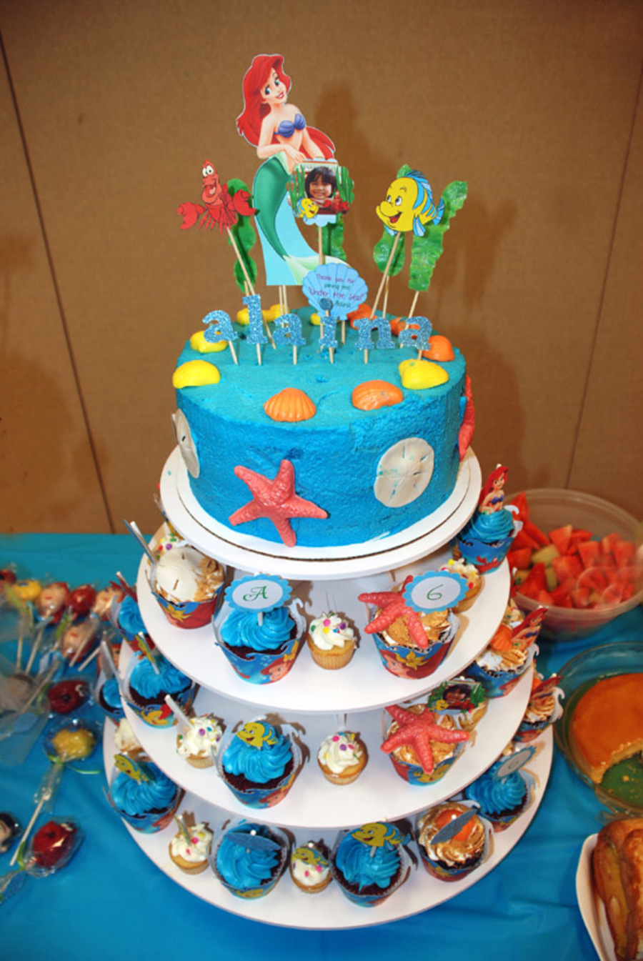 Under The Sea Cupcakes And Cake For A Little Mermaid