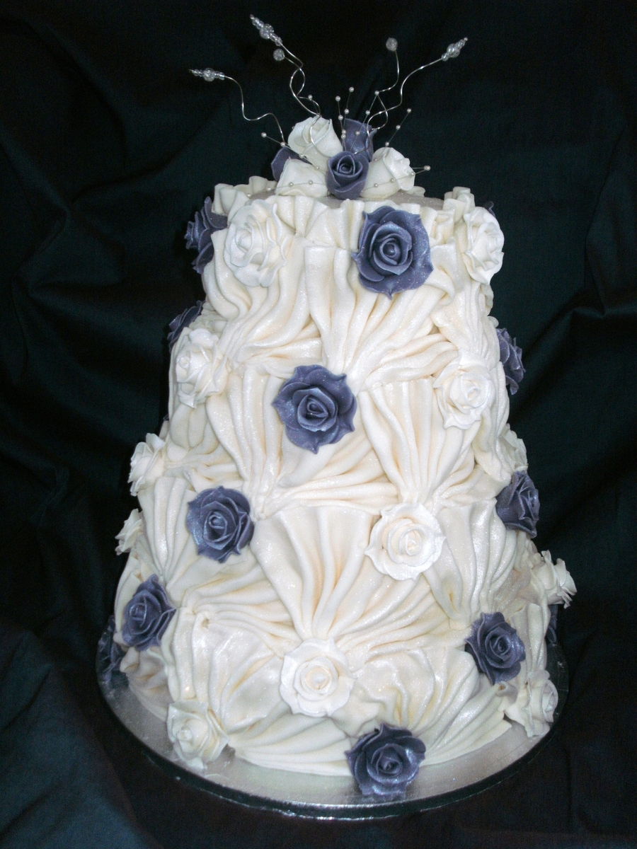 Roses And Ruffles Wedding Cake on Cake Central