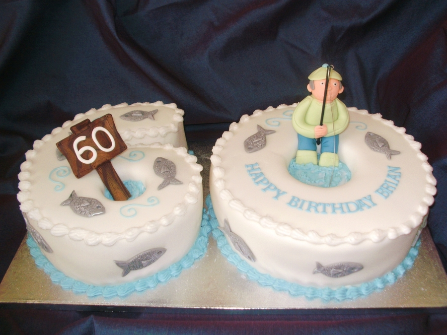 60th Fishing Birthday Cake Cakecentral
