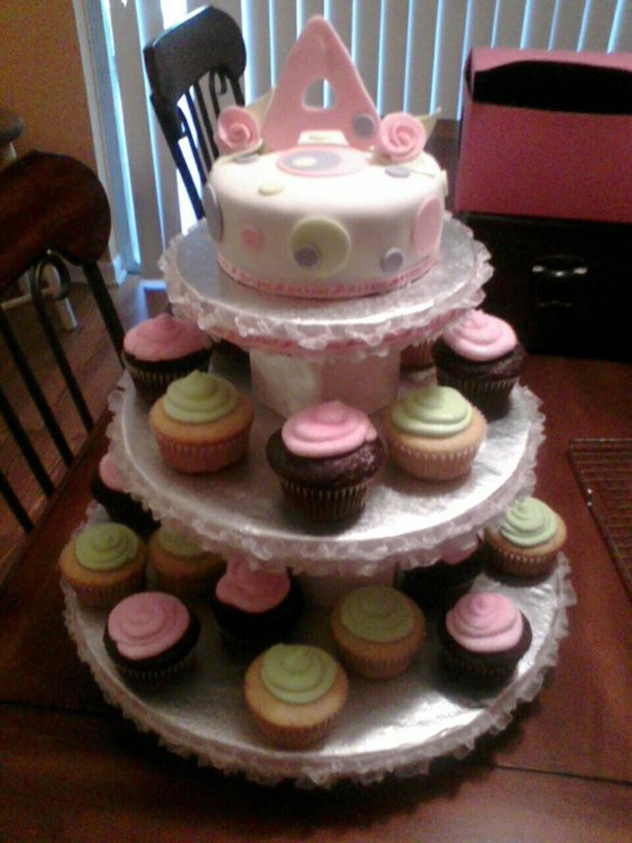 Pink Cupcake Tower on Cake Central