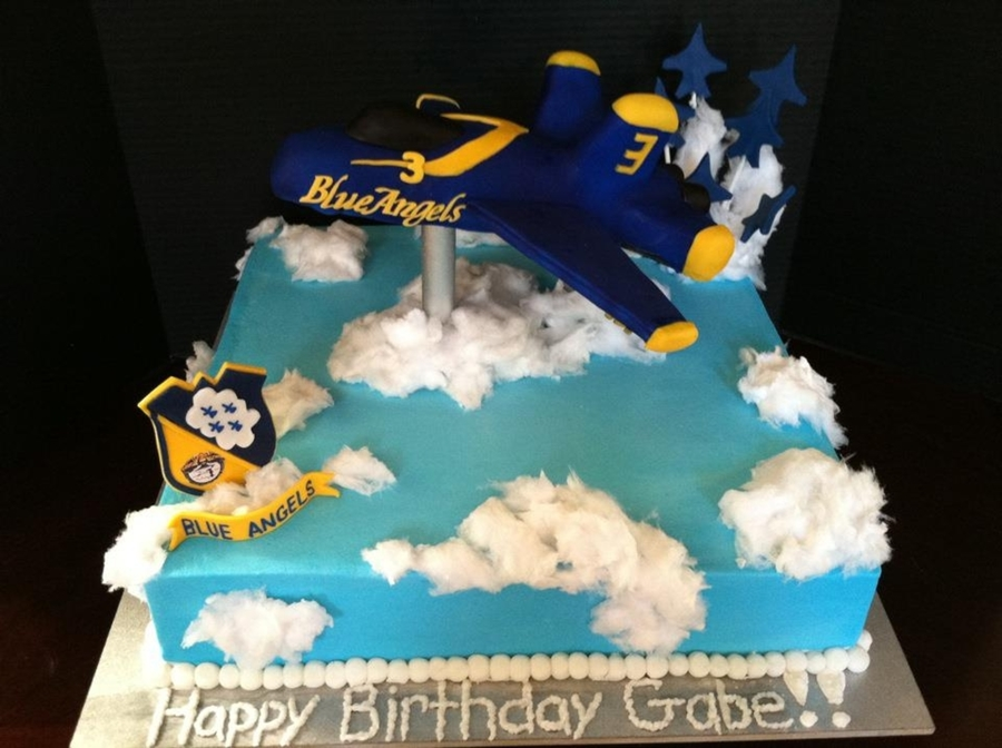 Gabes Blue Angel Birthday Cake Cakecentral