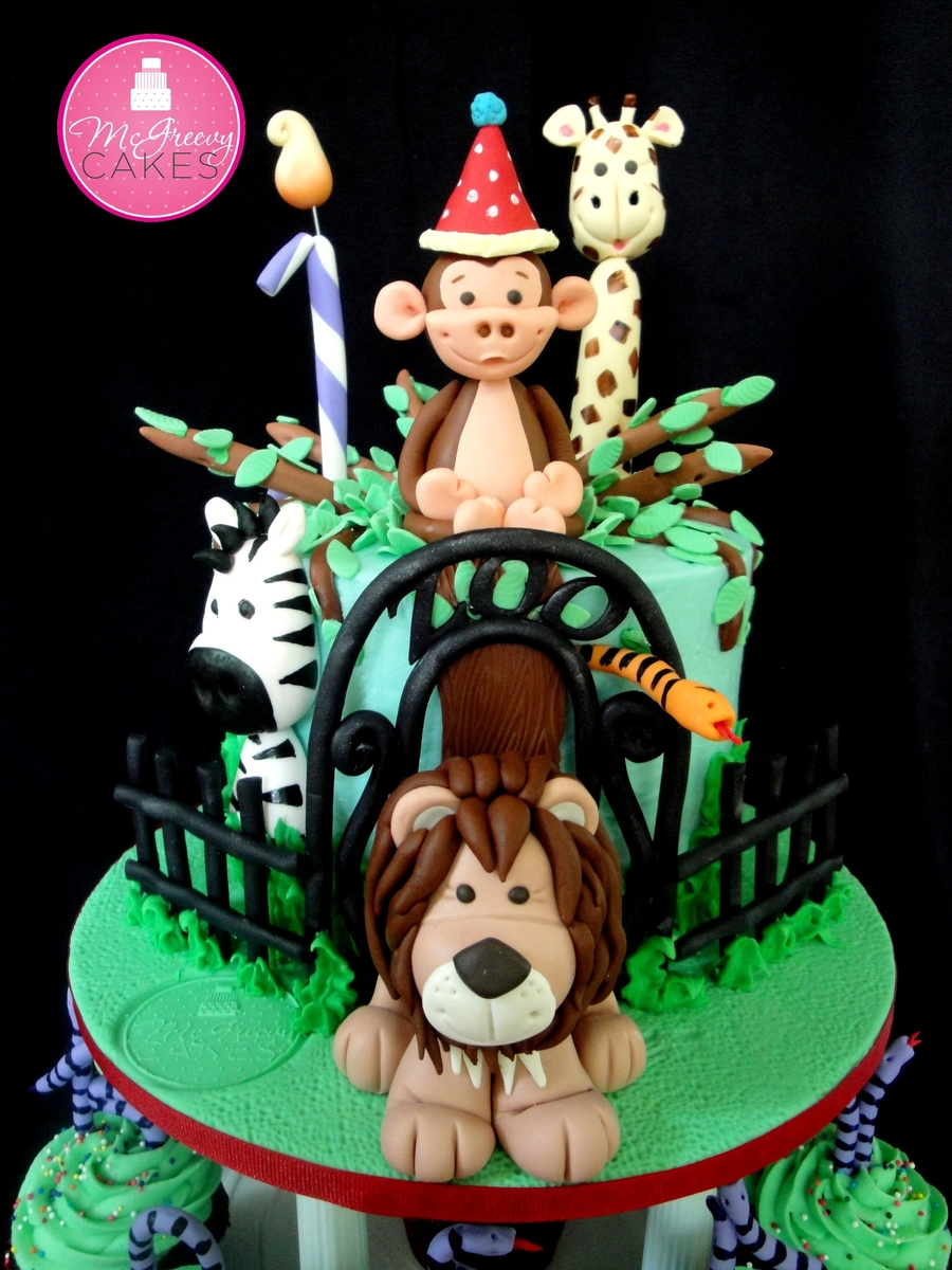 Zoo Birthday Cupcake Tower on Cake Central