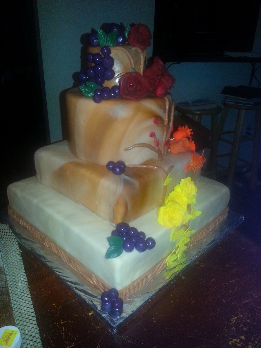 I Made This For A Winery Fundraiser 4 Tiers 4 Different Flavors on Cake Central