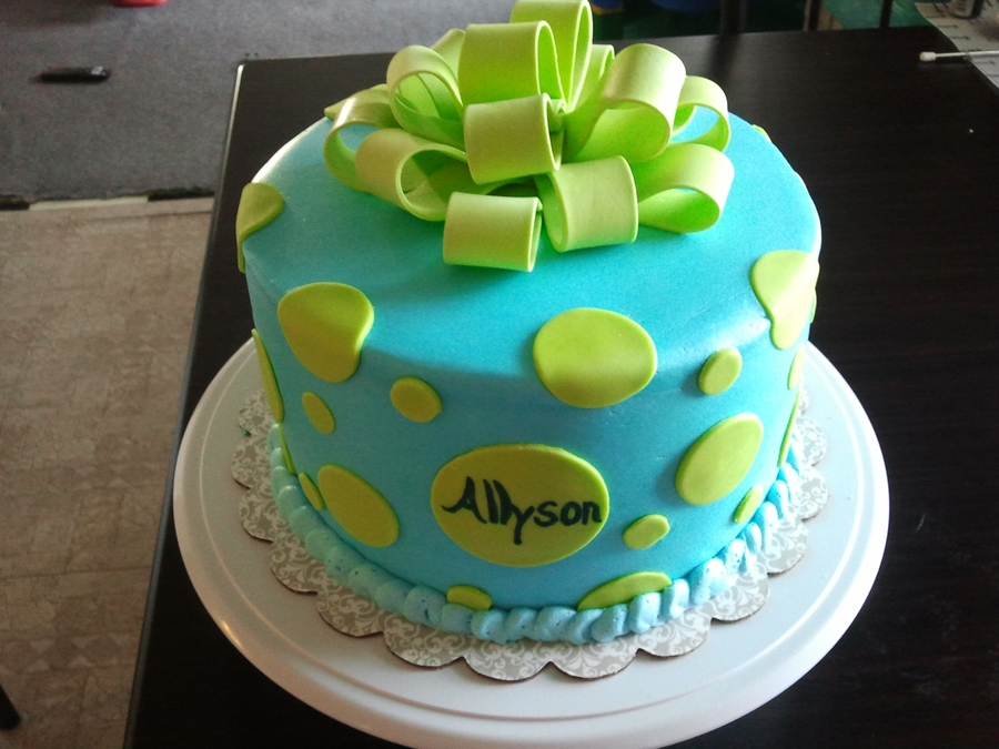 Baby Blue/lime Green Polka Dot on Cake Central