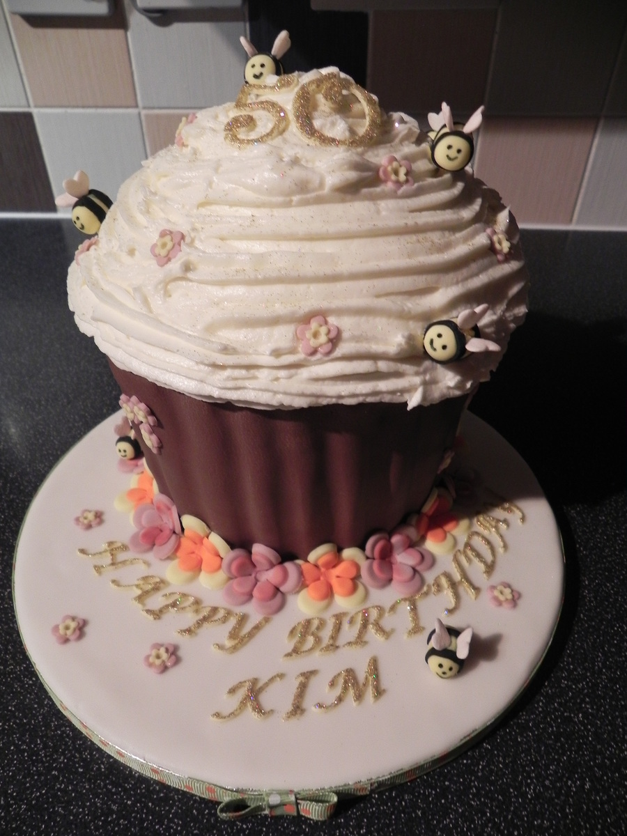 50Th Birthday Giant Cupcake on Cake Central
