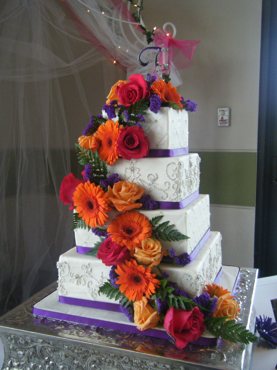 Wedding Cake With Cascading Flowers on Cake Central