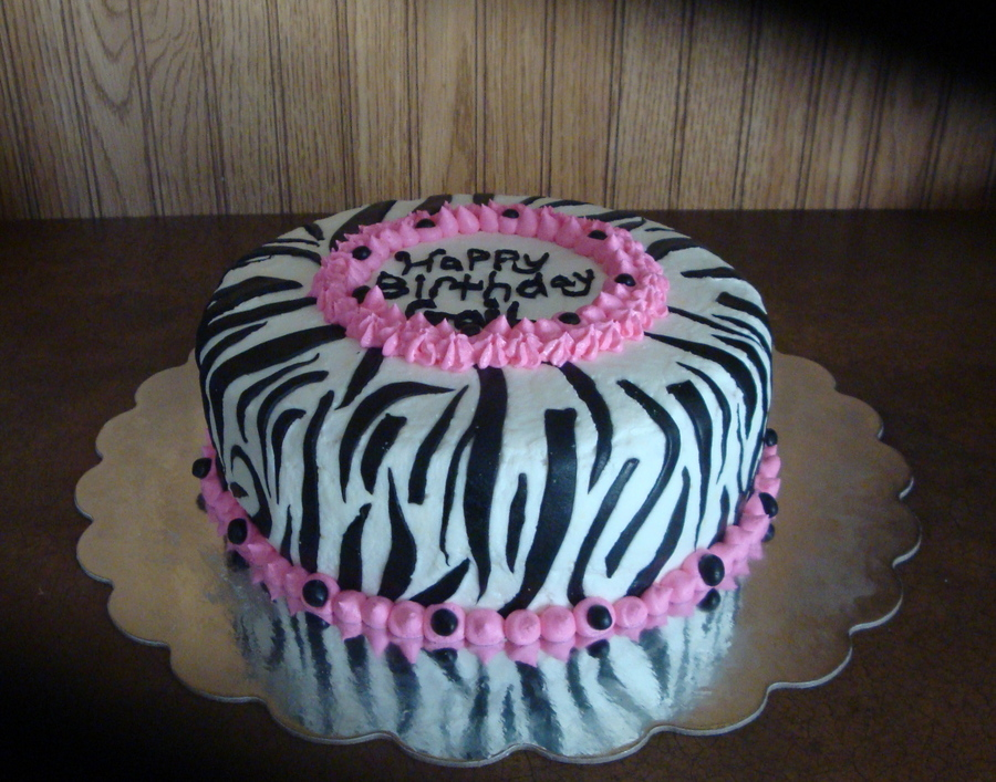 Astonishing Zebra Print Birthday Cake Cakecentral Com Funny Birthday Cards Online Overcheapnameinfo