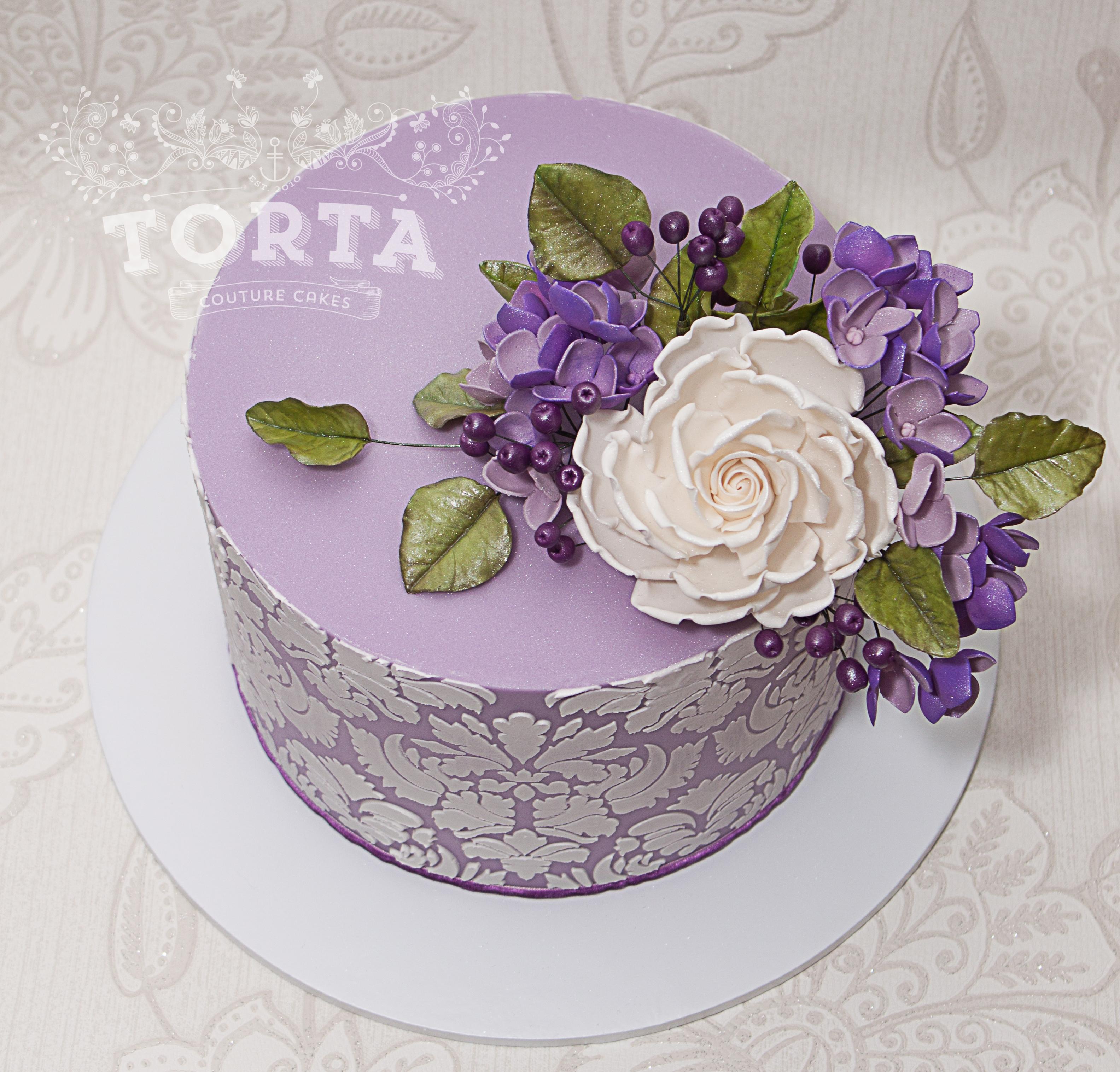 Purple Damask Birthday Cake Cakecentral