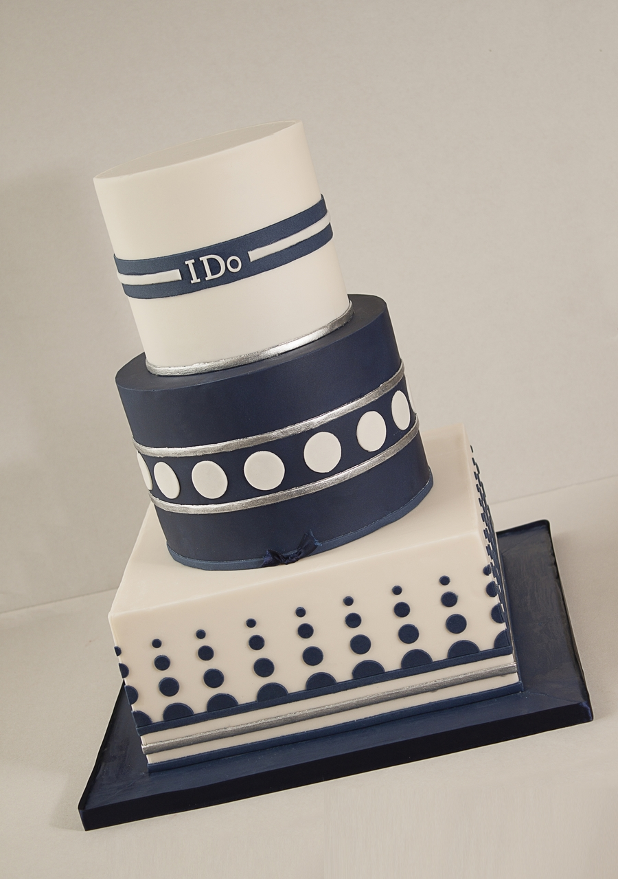 Geometric Ivory And Navy Wedding Cake Cakecentral Com