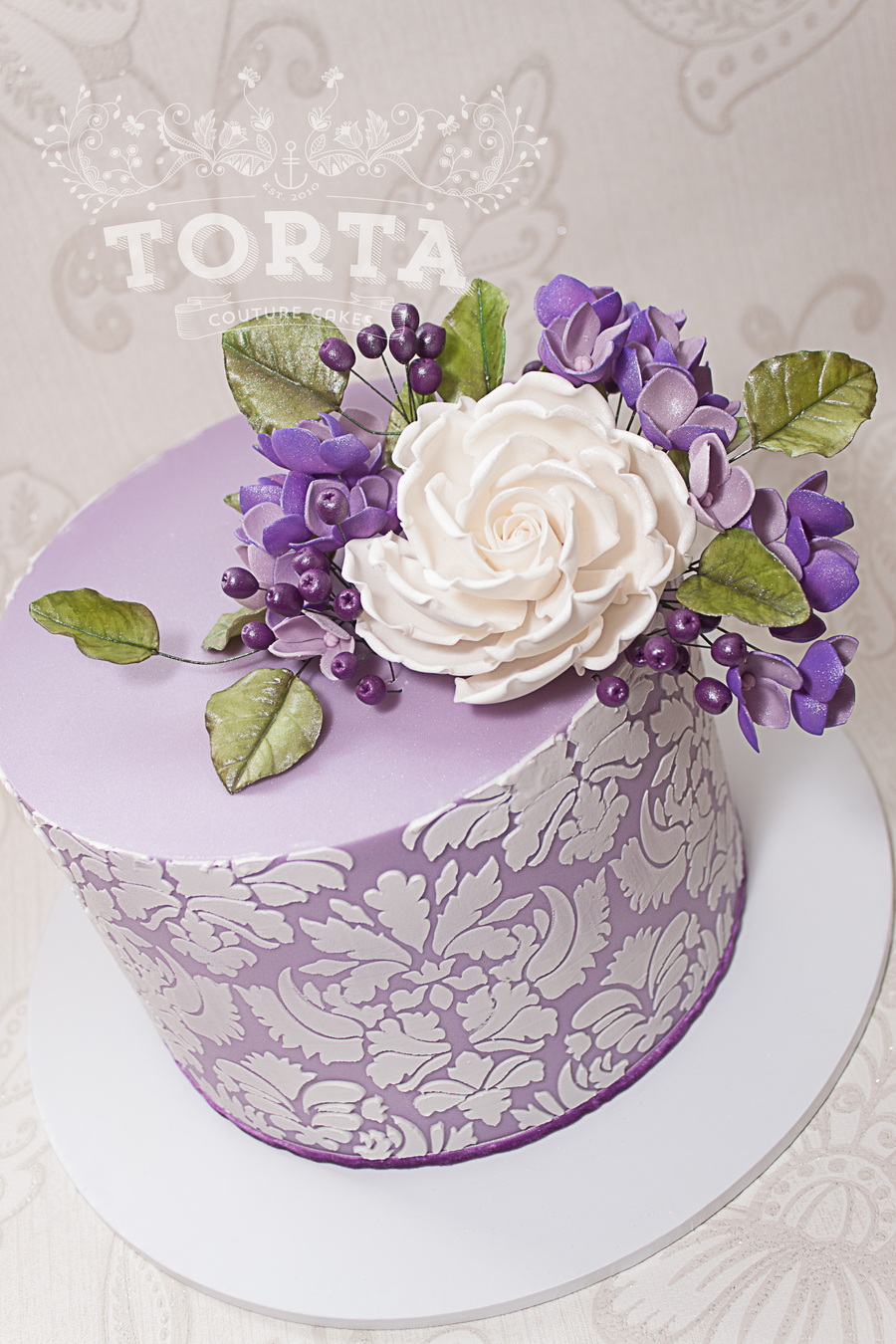 Purple Damask Birthday Cake Cakecentral Com