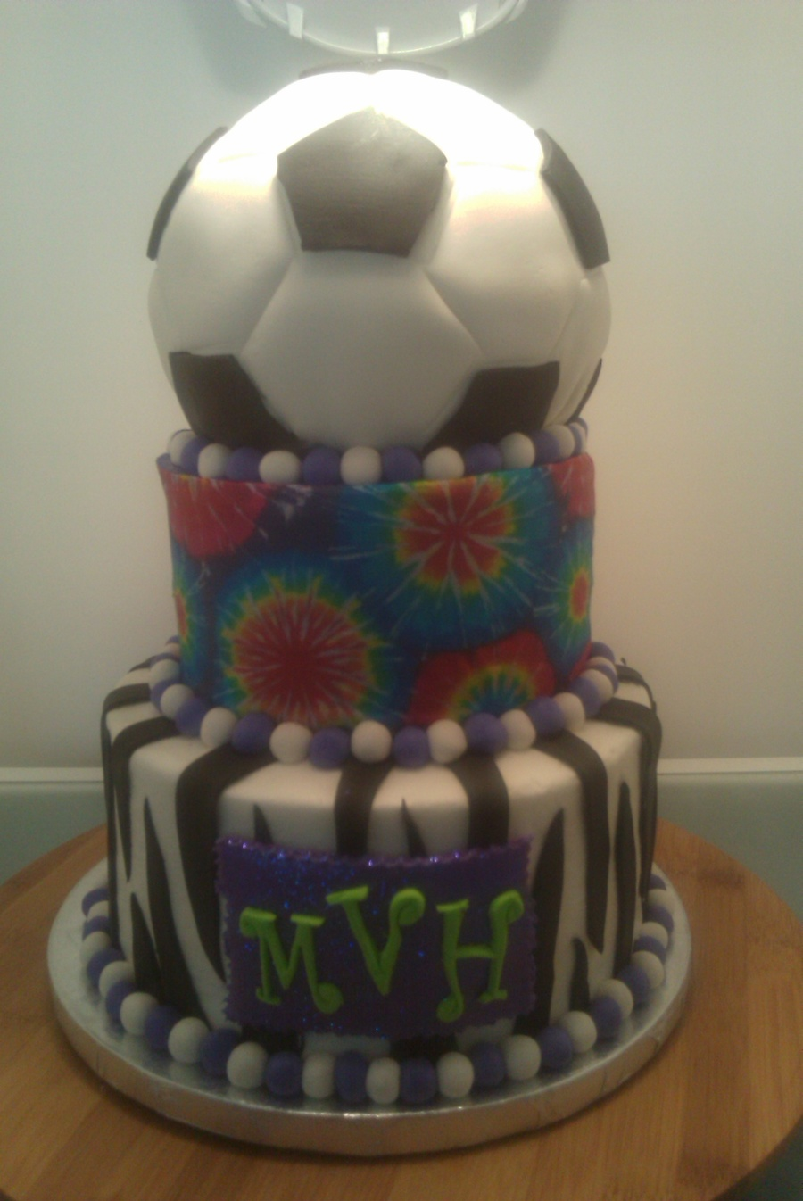 Zebra/tie Dye/soccer on Cake Central