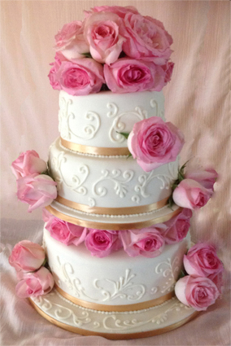 Ivory Wedding Cake With Blush Pink Roses - CakeCentral.com