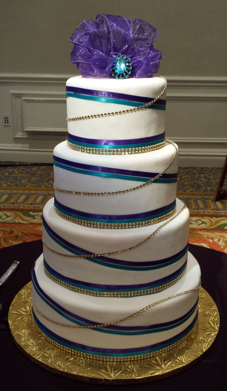 Teal Purple And Gold Wedding Cakecentral Com