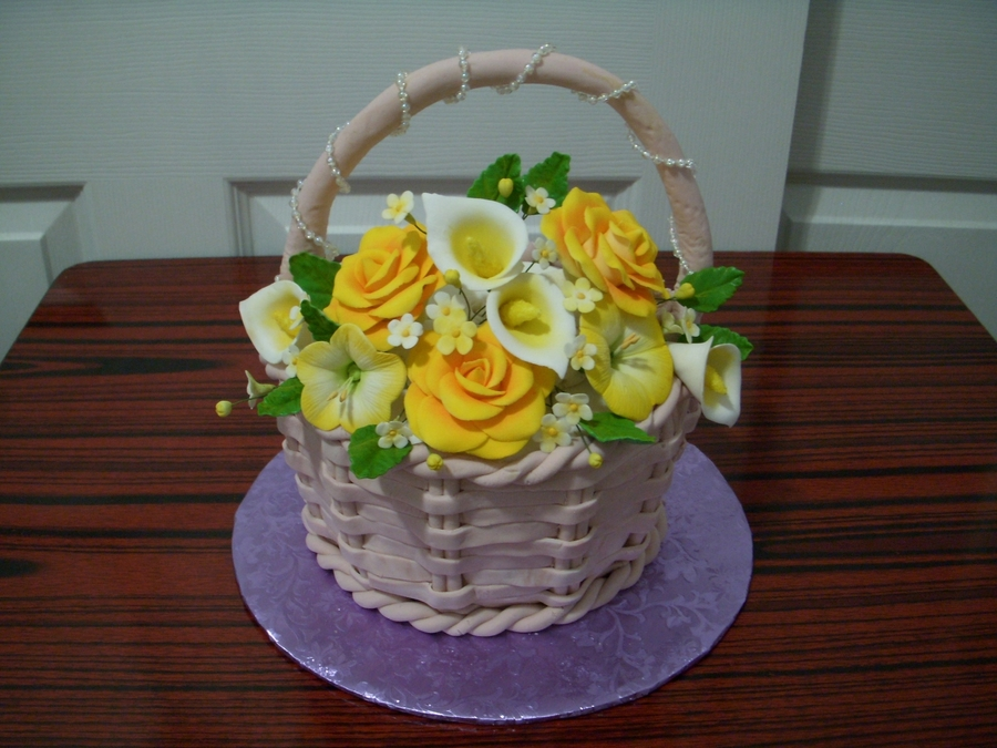 Basket Of Yellow Flower on Cake Central