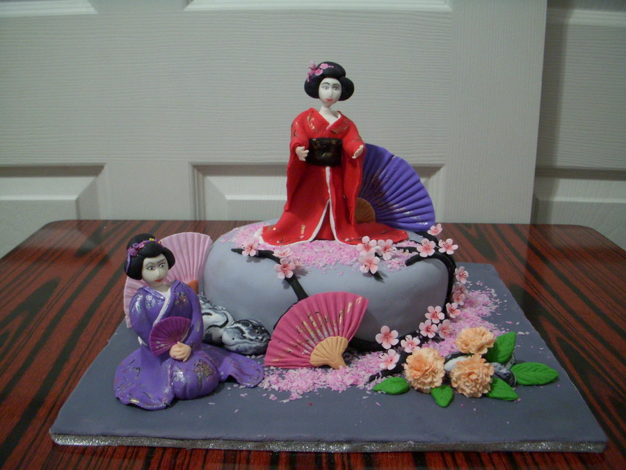 Made Geisha Dolls From Mix Fondant And Gum Pasteunfortunately Cake Too Small on Cake Central
