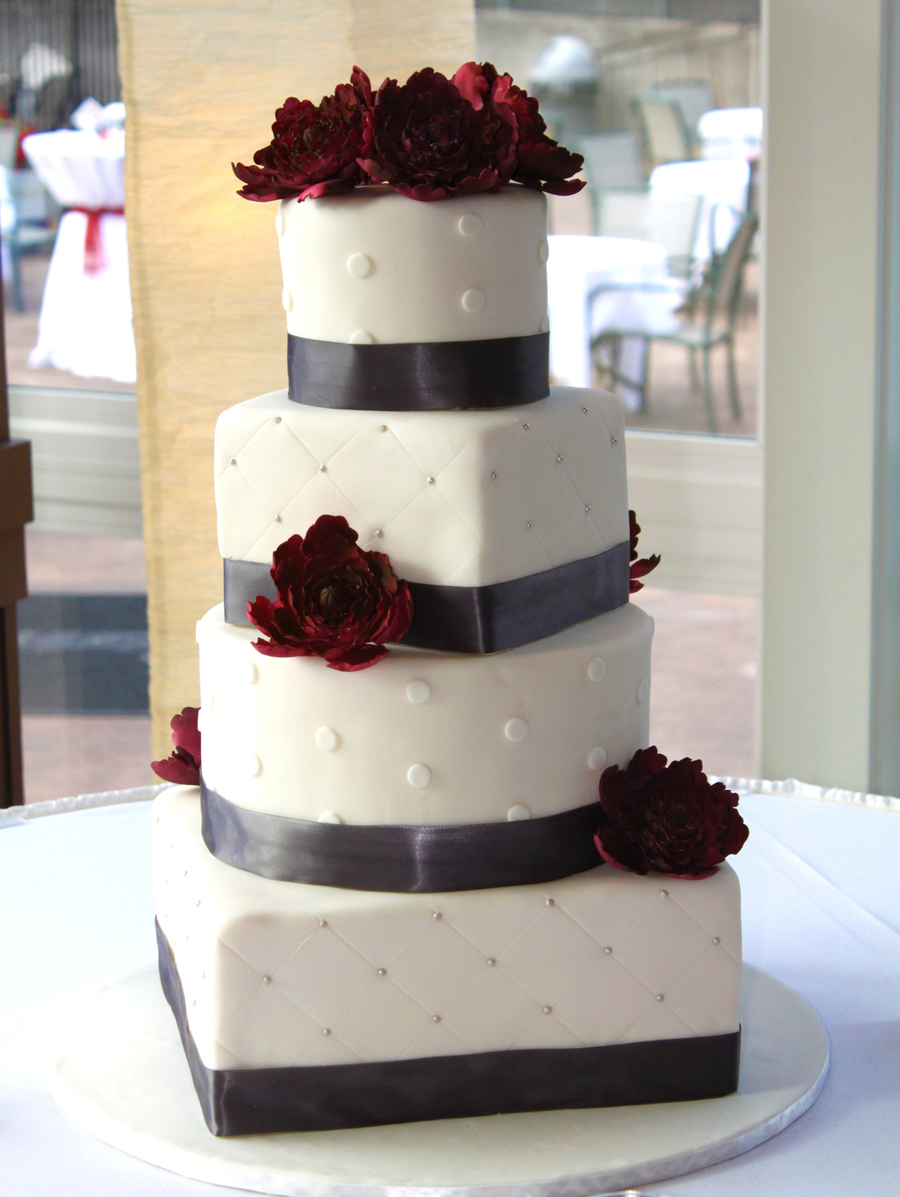 Mixed Shape Wedding Cake  on Cake Central