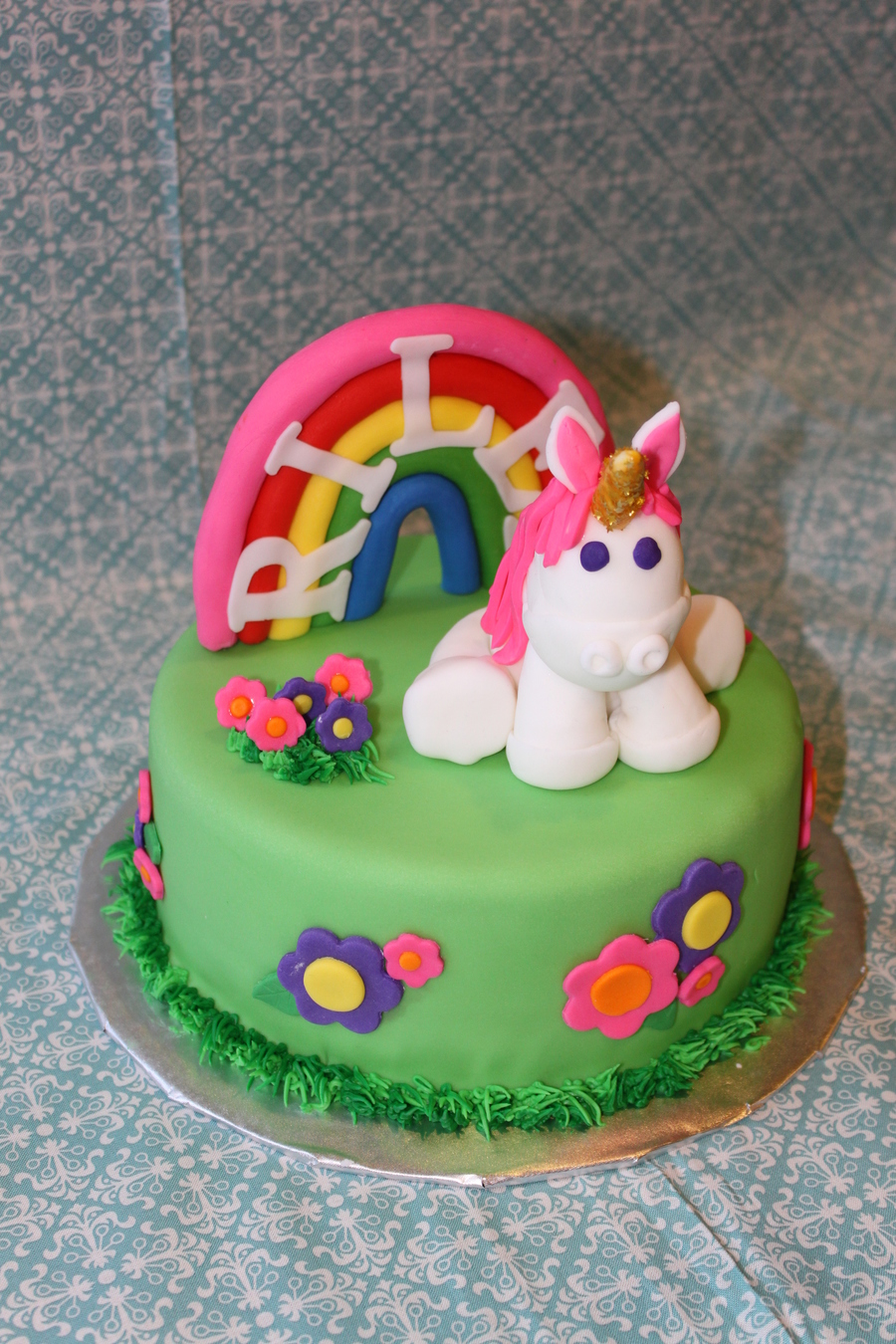 For A Little Girls Birthdayshe Is Huge Fan Of Unicorns And Rainbows So We Went All Out The Rainbow Cake Inside Vanilla With Buttercream