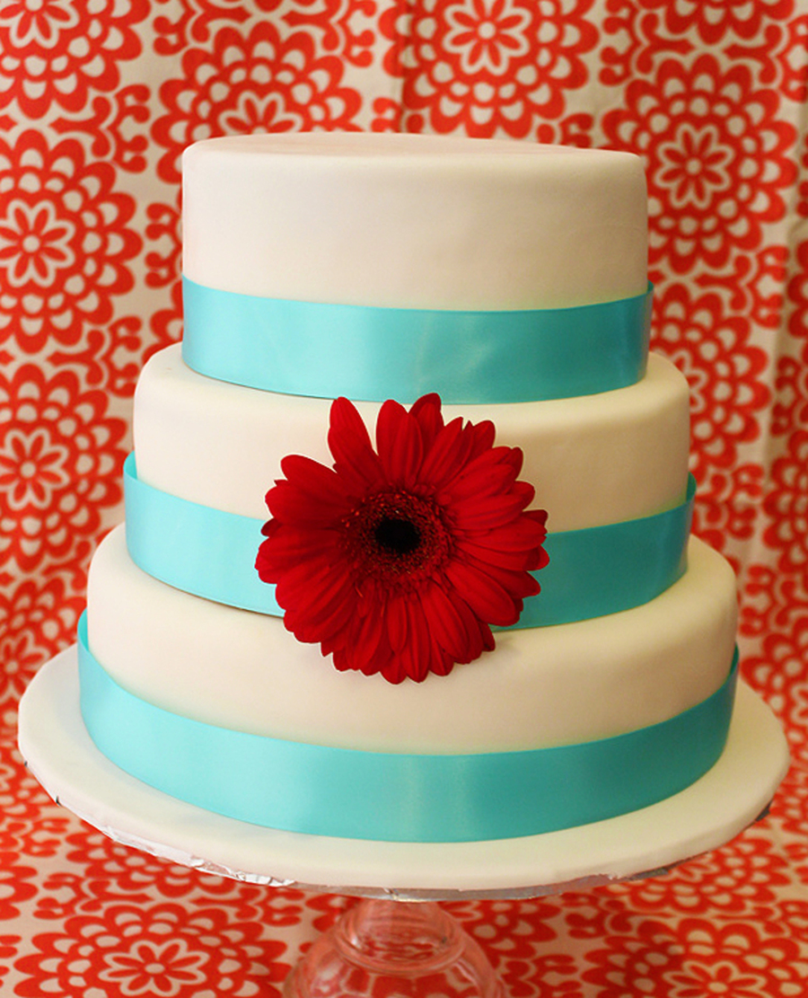 Red Turquoise Wedding Cake On Central