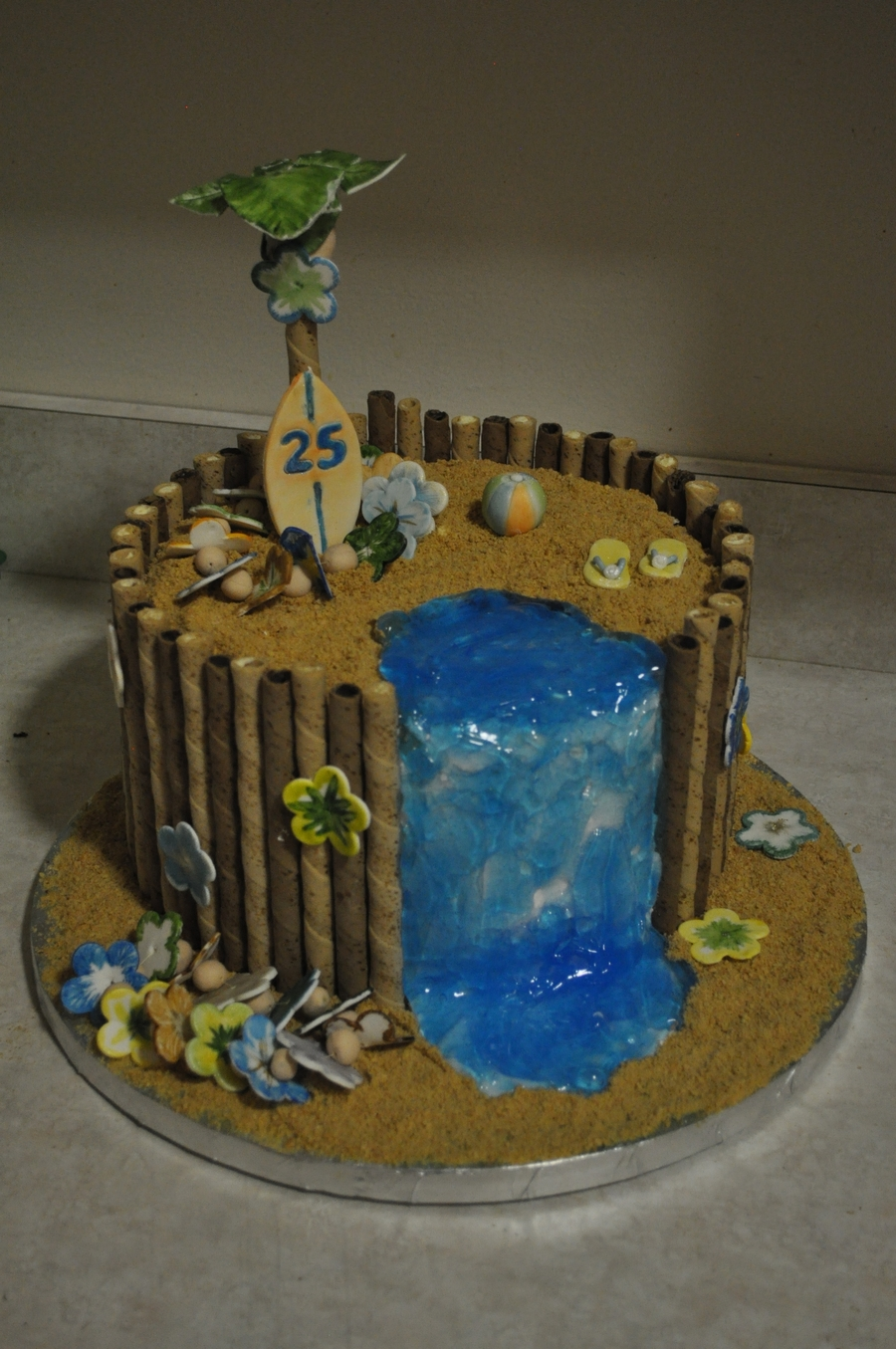 Hawiian Themed 25Th Birthday Cake on Cake Central