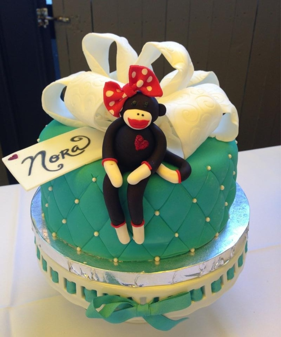 Teal And Red Sock Monkey Baby Shower Cake on Cake Central