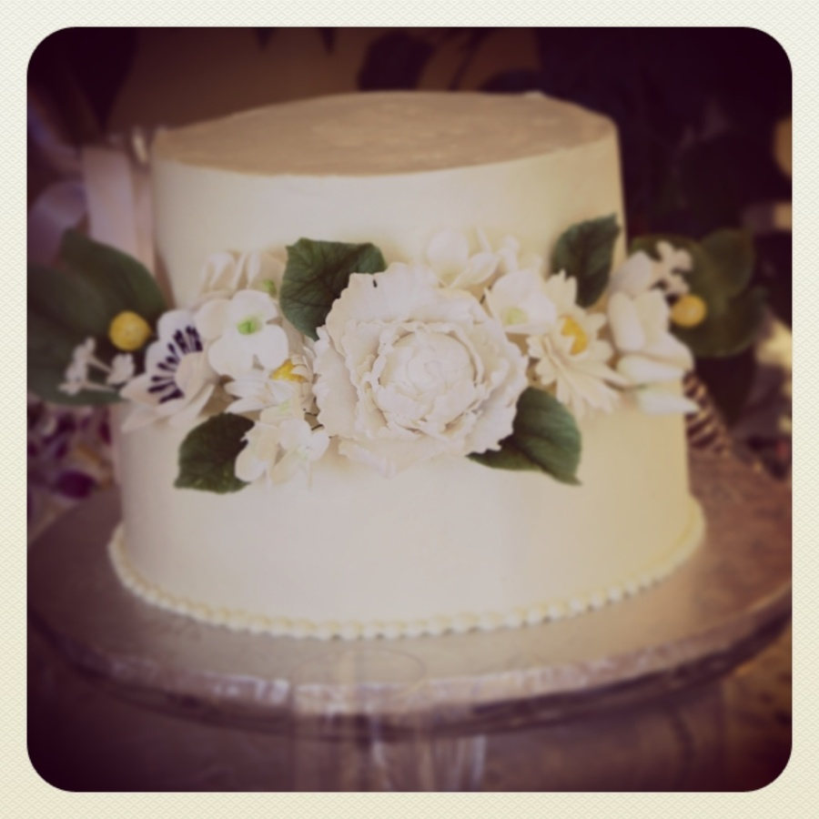 Italian Meringue Buttercream Wedding Cake With Gum Paste Peony on Cake Central