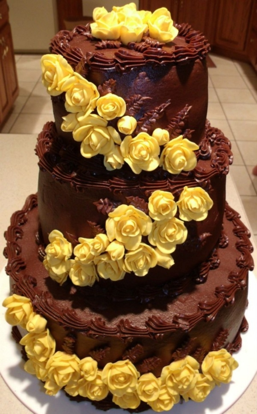 Chocolate Cake With Yellow Roses on Cake Central