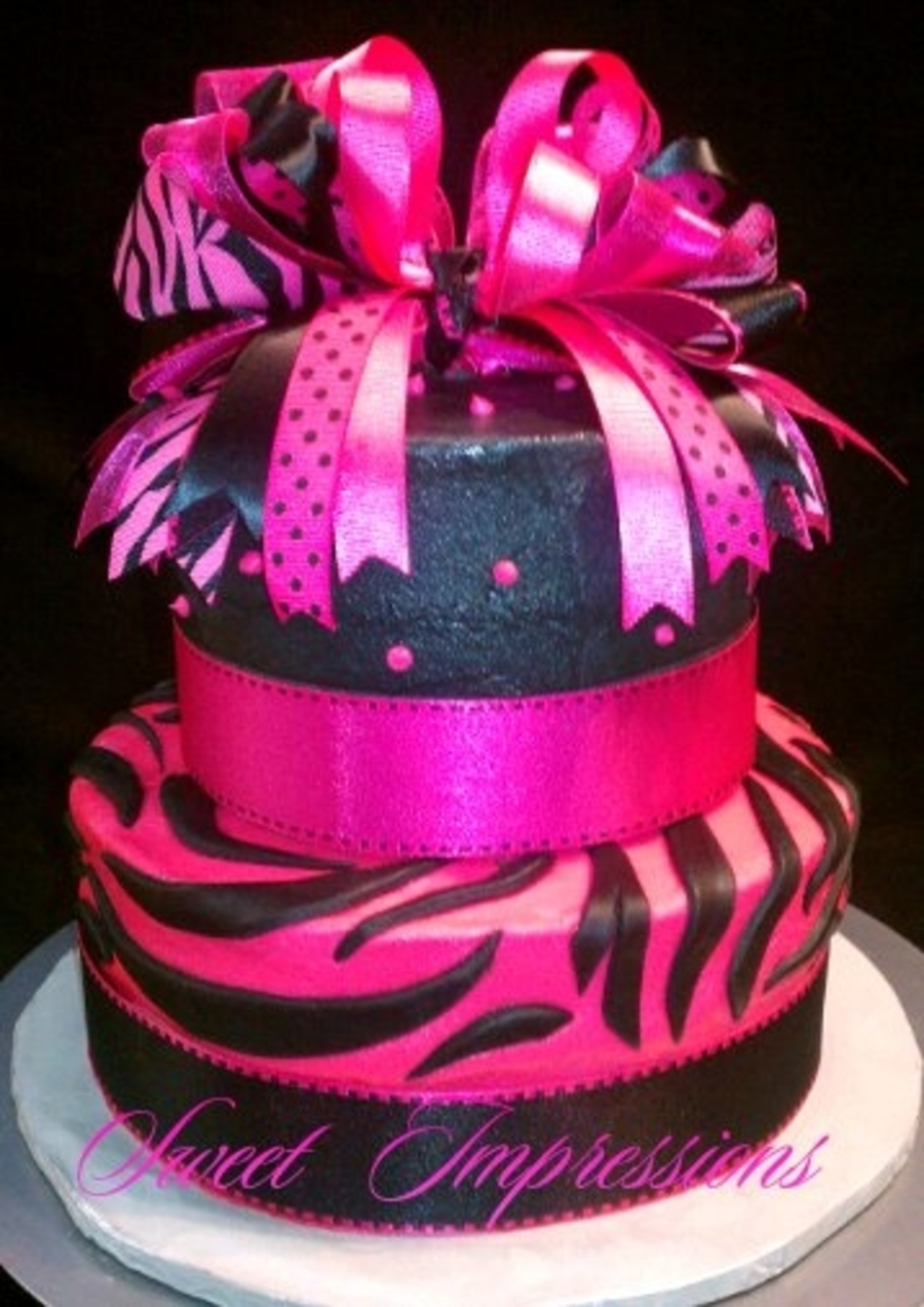Hot Pink And Black Zebra Print on Cake Central