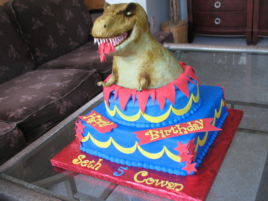 TRex Birthday Cake CakeCentralcom