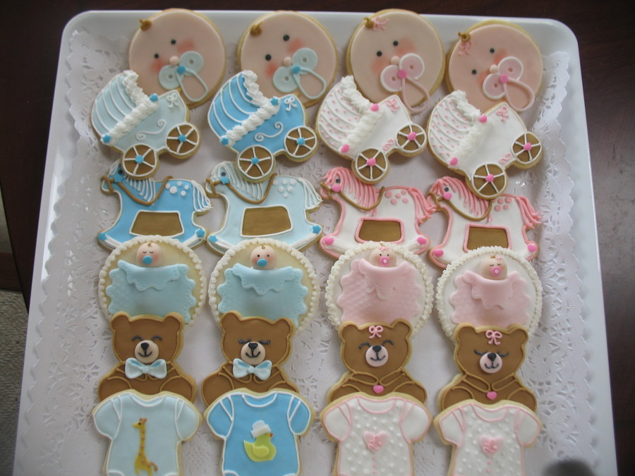 Baby Boy & Baby Girl Shower Cookies  on Cake Central